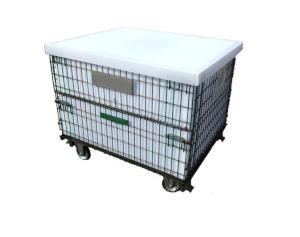 精密部品メーカー様でのメッシュパレット用防水カバー採用事例